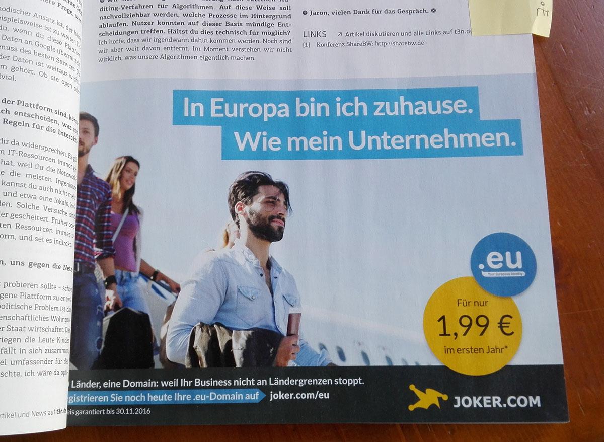 Joker.com in German Magazine t3n